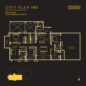 Tower Cygnus, Unit No : 102 <br> Extra Terrace (2nd Floor)