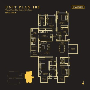Tower Cygnus, Unit No : 103 <br> Typical Floor Plan (2nd to 14th Floor)