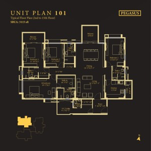 Tower Pegasus, Unit No : 101<br>                                 Typical Floor Plan (2nd to 15th Floor)