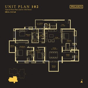 Tower Pegasus, Unit No : 102<br>                                 Typical Floor Plan (2nd to 15th Floor)