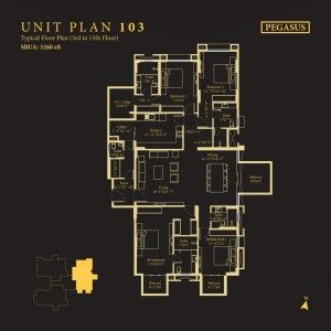 Tower Pegasus, Unit No : 103<br>                                 Typical Floor Plan (2nd to 15th Floor)